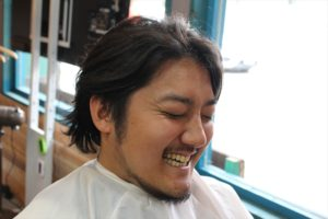 【カット前髪型正面クアングル】深夜まで営業している天文館・鹿児島中央駅近くの美容室